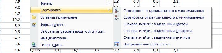 Сортировка данных в Excel