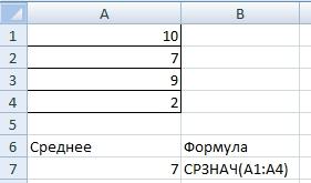 Среднее значение в Excel