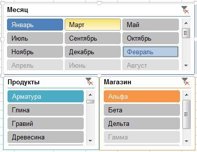 Срезы в Excel 2013
